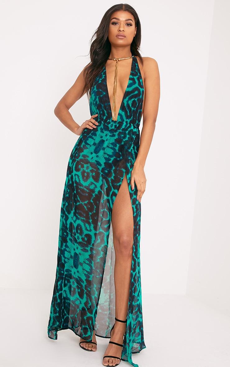 Alina robe maxi verte décolleté plongeant imprimé léopard 4