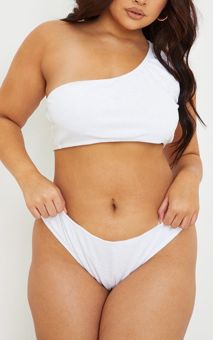 Plus White Towelling Bikini Bottom 1