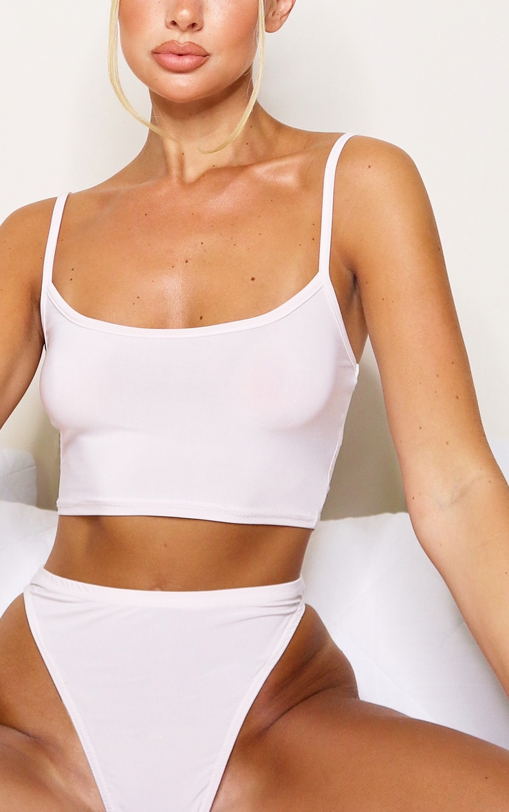 Baby Pink Soft Touch Longline Bra Lingerie Set 4