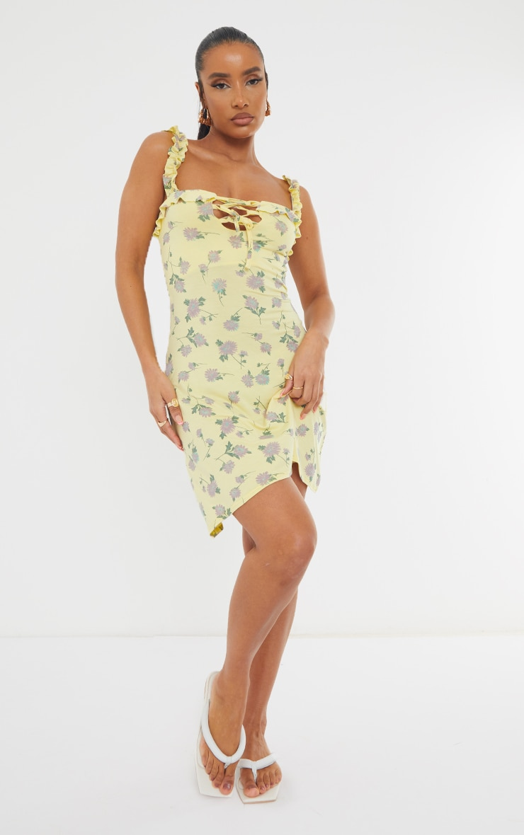Yellow Ditsy Print Frill Detail Shift Dress 3