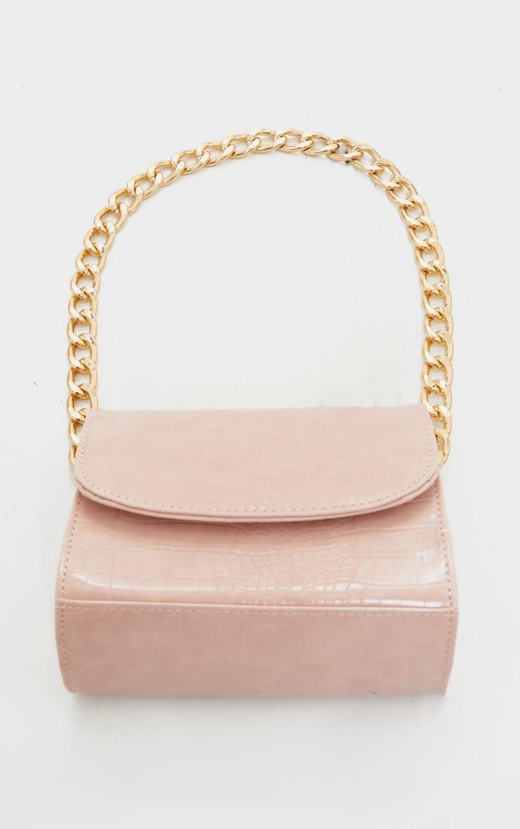 Pink Croc Chunky Chain Shoulder Bag 2