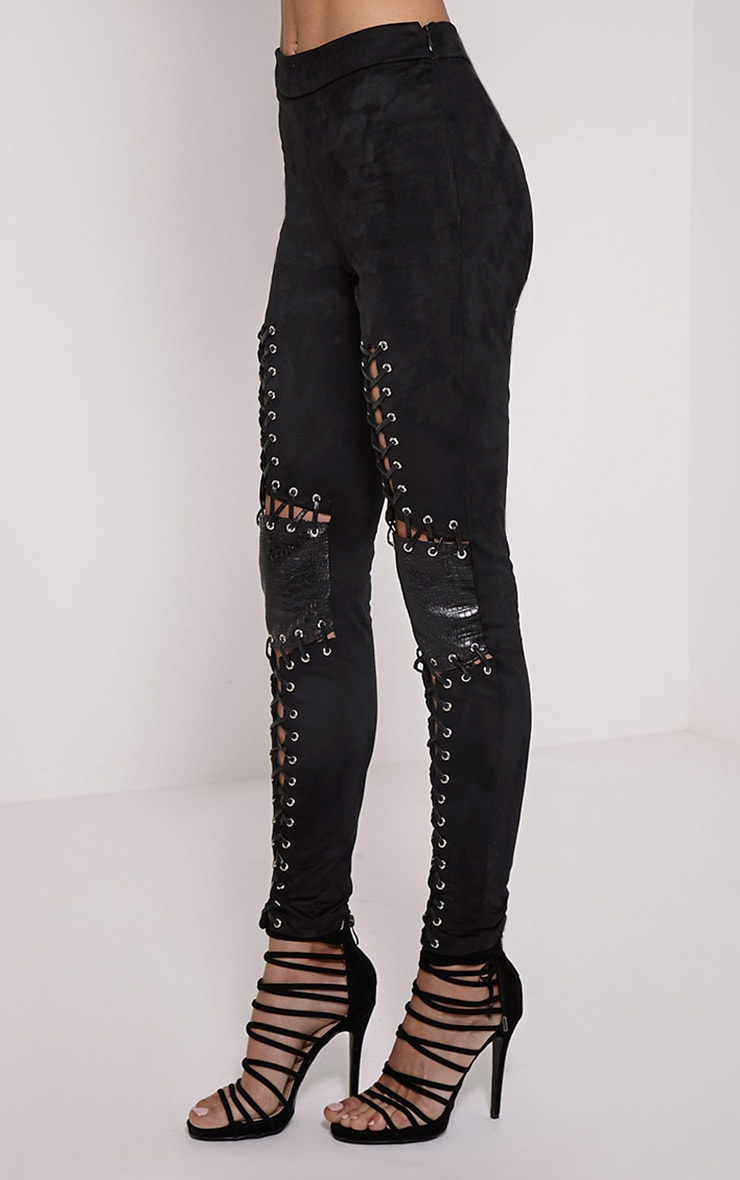 Shakira Black Faux Leather Lace Up Biker Pants 3