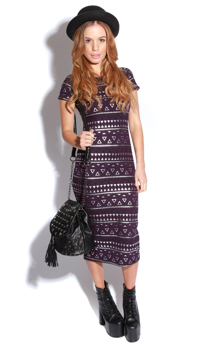 Nadia Purple Aztec Cap Sleeve Midi Dress 1