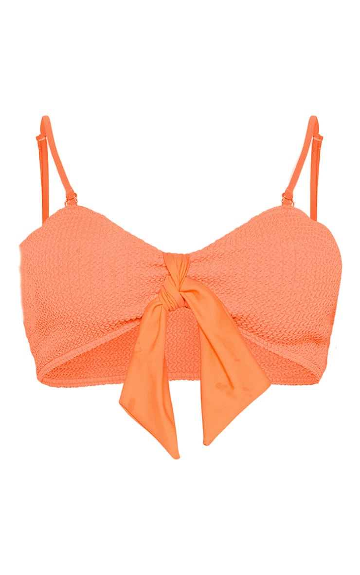 Coral Crinkle Bow Bikini Top 3