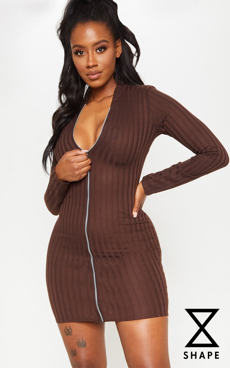 Shape Chocolate Brown Ribbed Zip Front Bodycon Dress 1