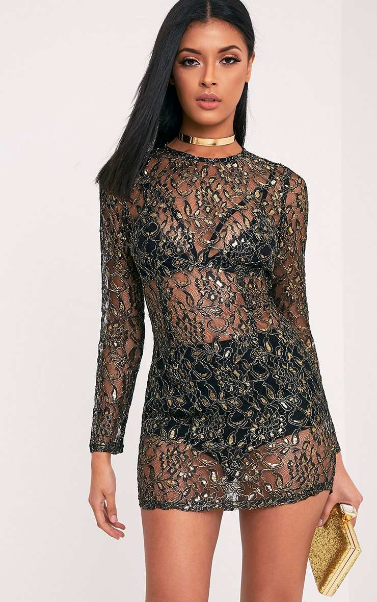 Diania Black Sheer Lace Long Sleeve Shift Dress 1