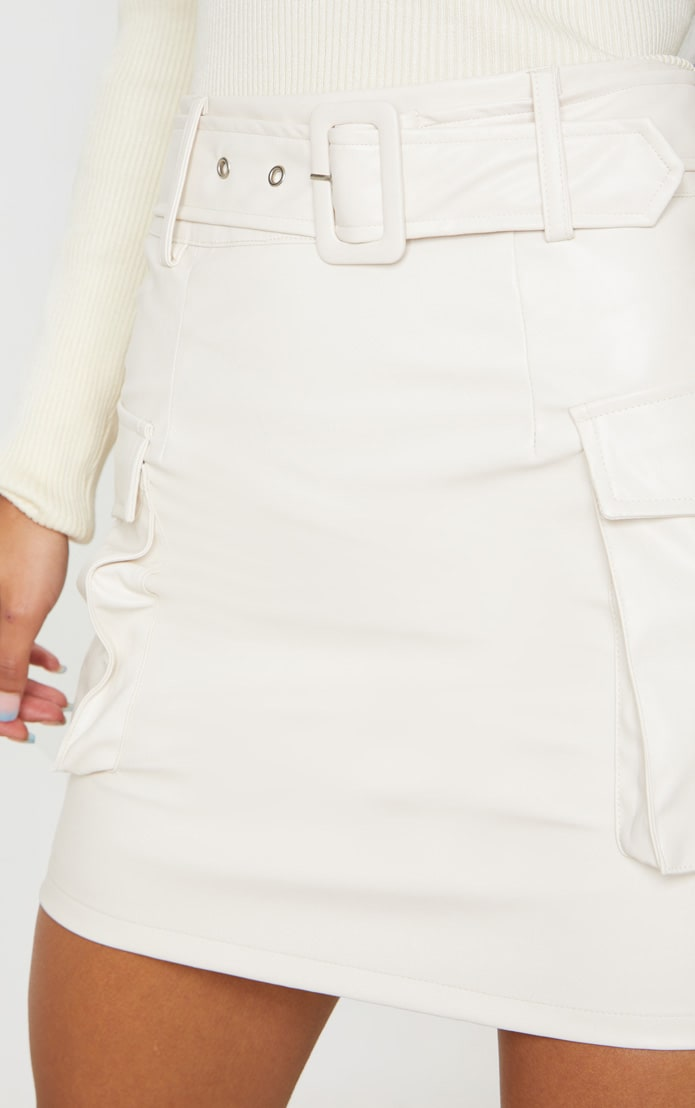 Cream Faux Leather Belted Cargo Pocket Mini Skirt 6