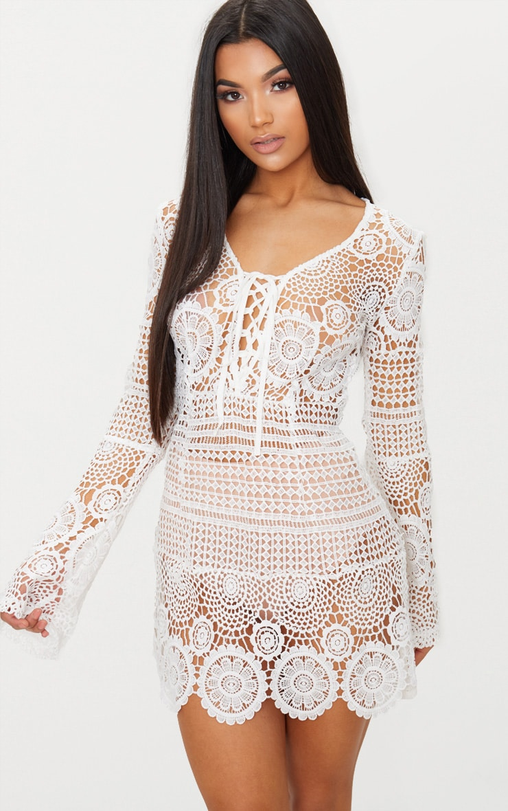 White Tie Front Flare Sleeve Crochet Lace Bodycon Dress 1