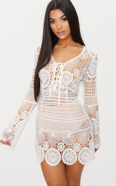 19fbdb2d624 White Tie Front Flare Sleeve Crochet Lace Bodycon Dress
