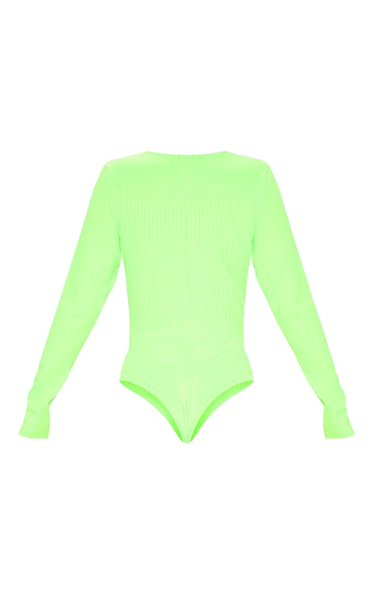 Neon Lime Rib Plunge Long Sleeve Bodysuit 4