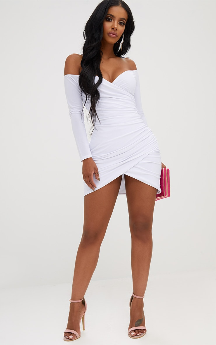 Shape White Ruched Bardot Bodycon Dress 5