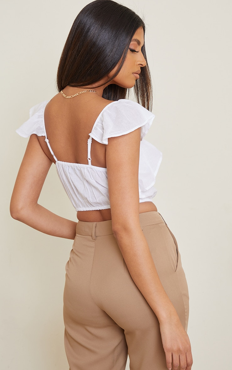 White Linen Look Ruffle Strappy Crop Top 2