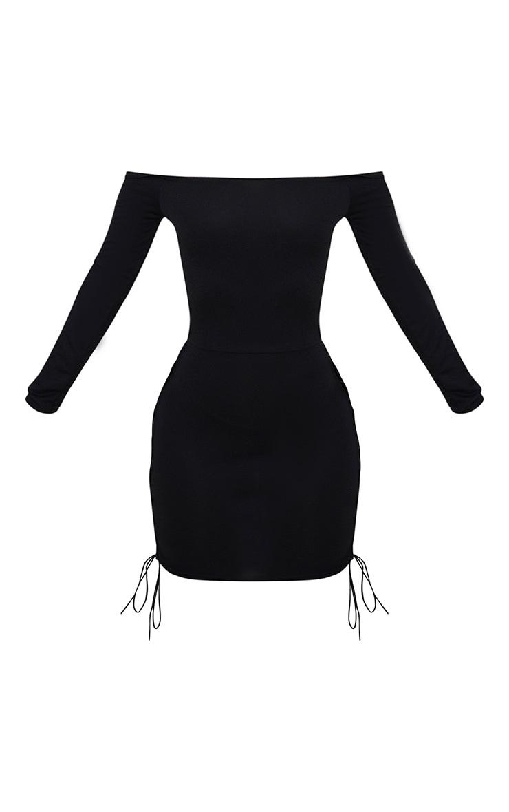 Shape Black Lace Up Detail Bardot Bodycon Dress 3