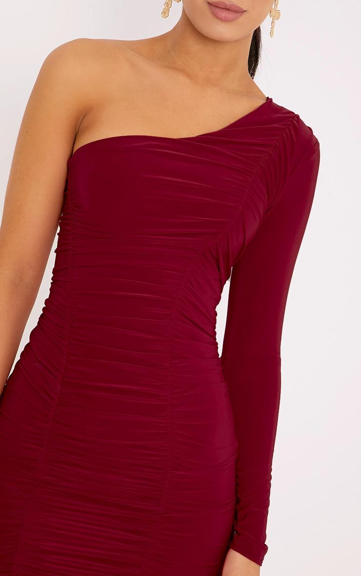 Skylar Red Slinky Ruched One Shoulder Midi Dress 5