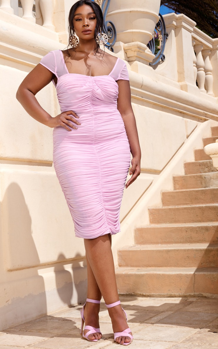 Plus Lilac Mesh Ruched Midi Dress 2