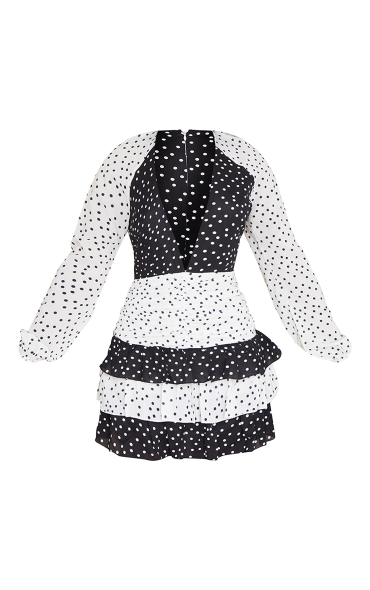Monochrome Mixed Polka Dot Chiffon Ruched Frill Skater Dress 5