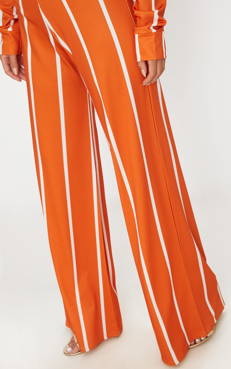 Orange Stripe Jersey Wide Leg Pants 6