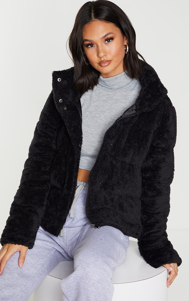 Black Short Faux Fur Padded Puffer Jacket 1