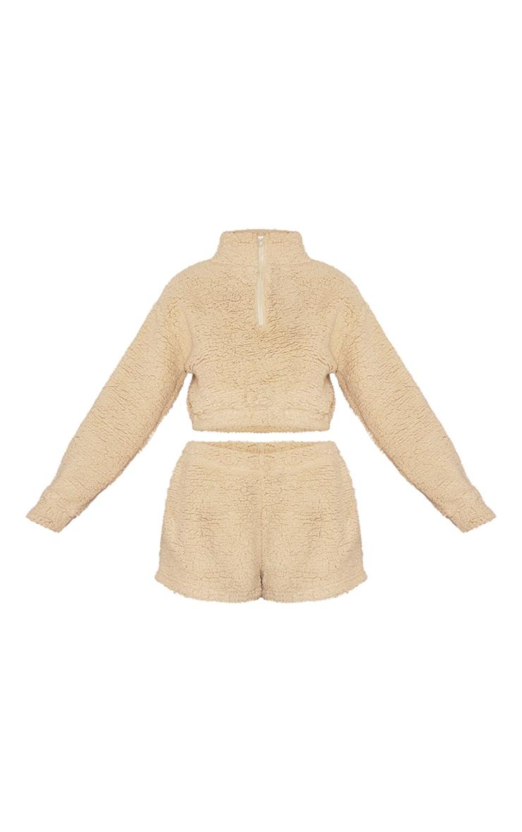Sand Borg Zip Up Cropped Sweat And Shorts Lounge Set 5