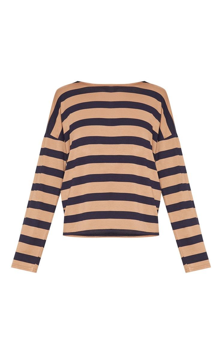 Tan Stripe Long Sleeve Top 3
