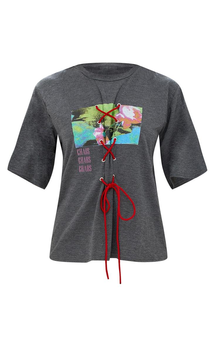 Charcoal Slogan Print Lace Up T Shirt 3