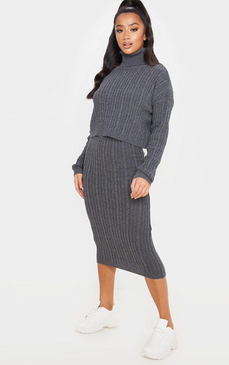 Petite Charcoal Knitted Midi Skirt 1