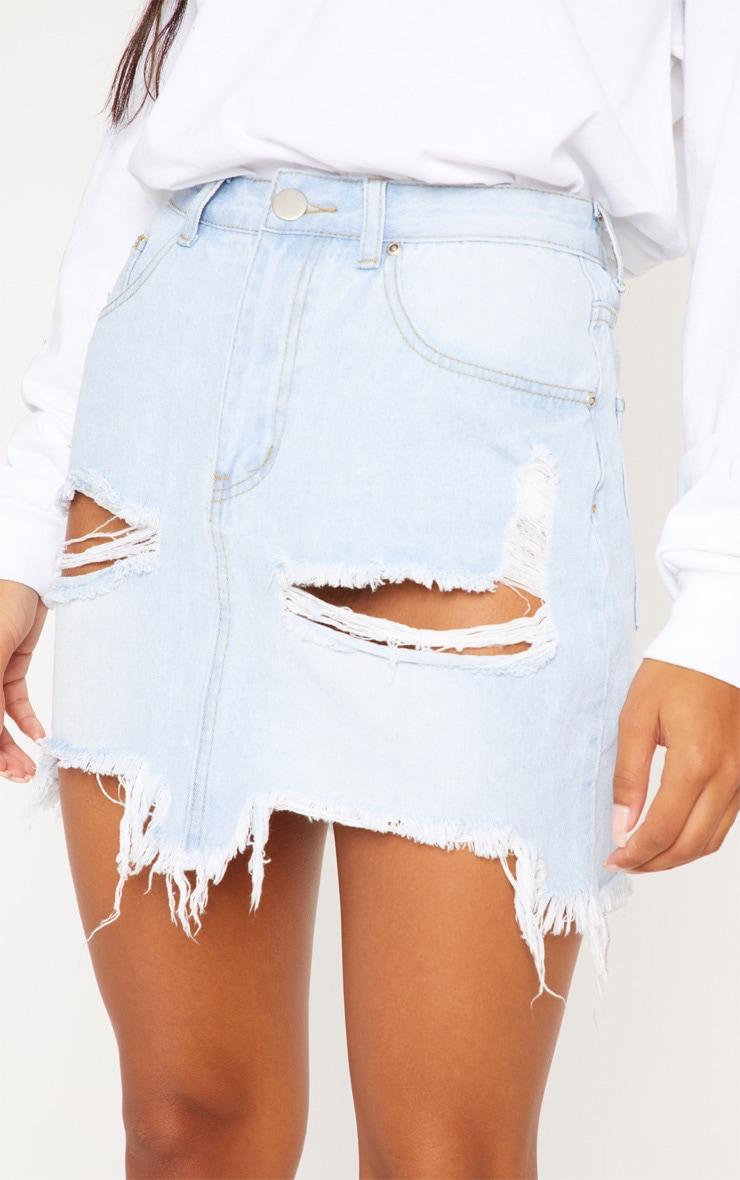 Light Wash Distressed Denim Mini Skirt 6