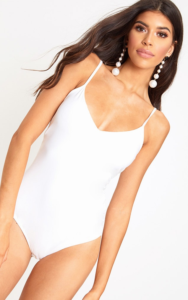 White Slinky Thong Bodysuit 2