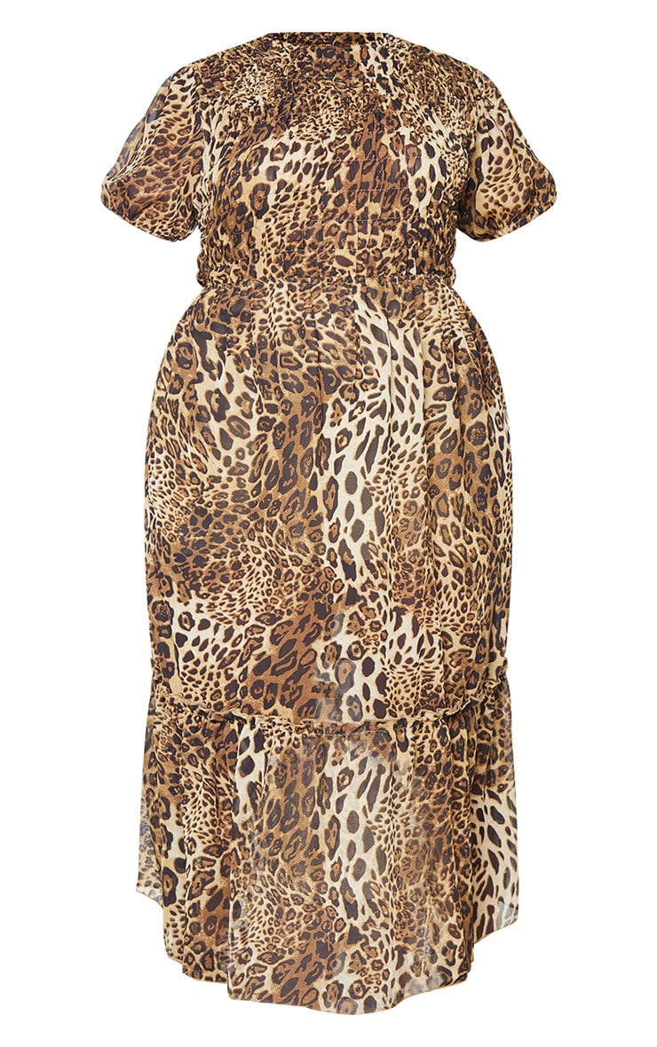 Plus Brown Leopard Print Chiffon Shirred Maxi Dress 5