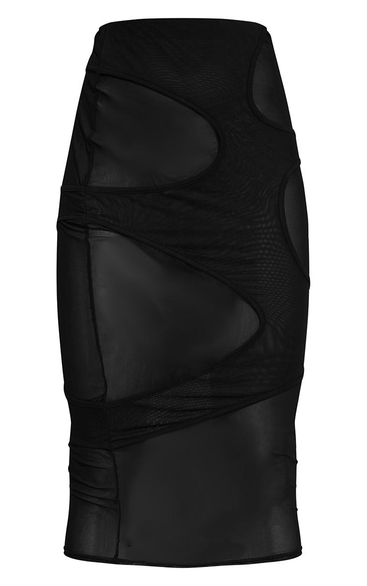 Black Mesh Circle Cut Out Layered Midaxi Skirt 5