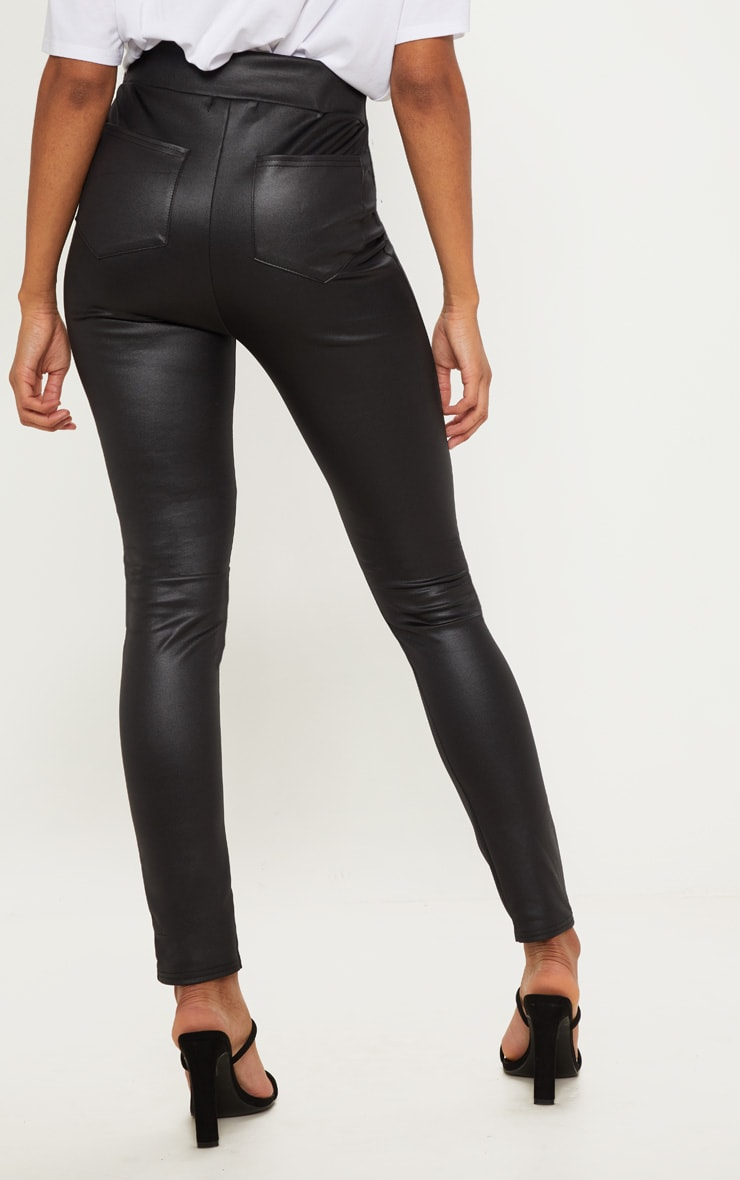 Black Wet Look Skinny Pants 4