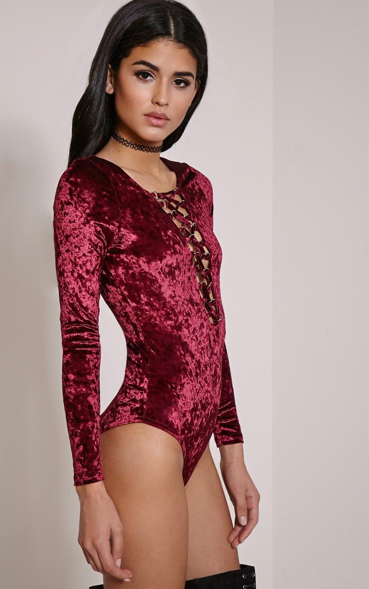 Jazz Burgundy Velvet Lace Up Bodysuit 7
