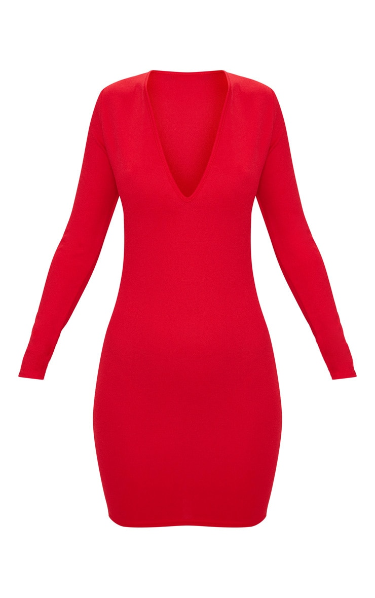 Red Long Sleeve Plunge Bodycon Dress 3