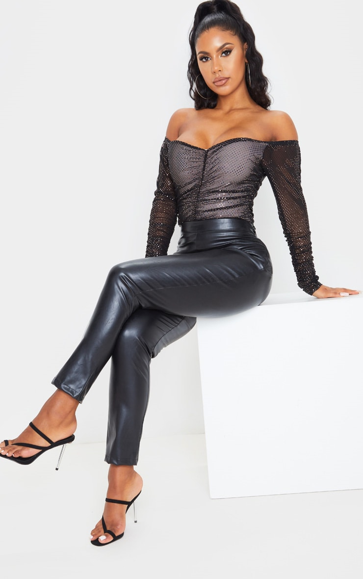 Pink Sequin Ruched Bardot Long Sleeve Bodysuit 5
