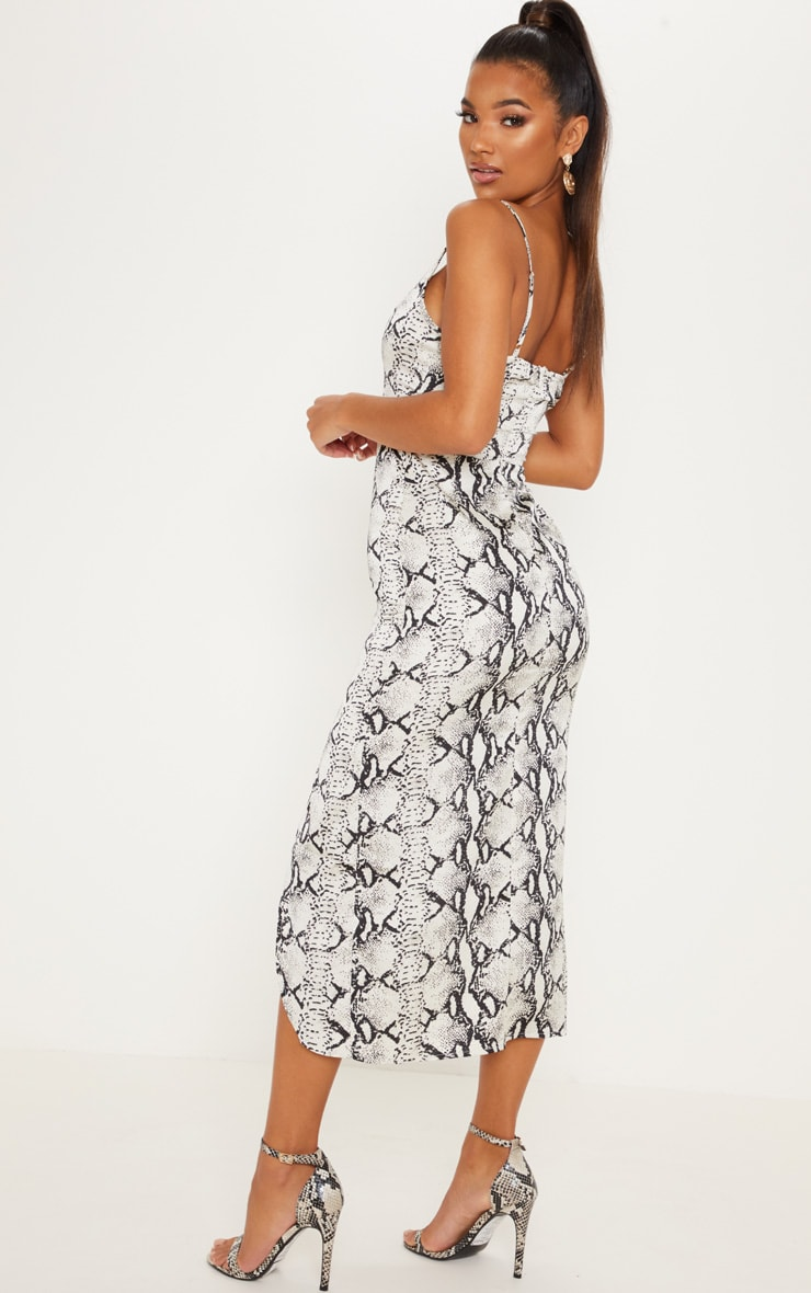 Grey Snake Print Satin Midi Slip Dress 2