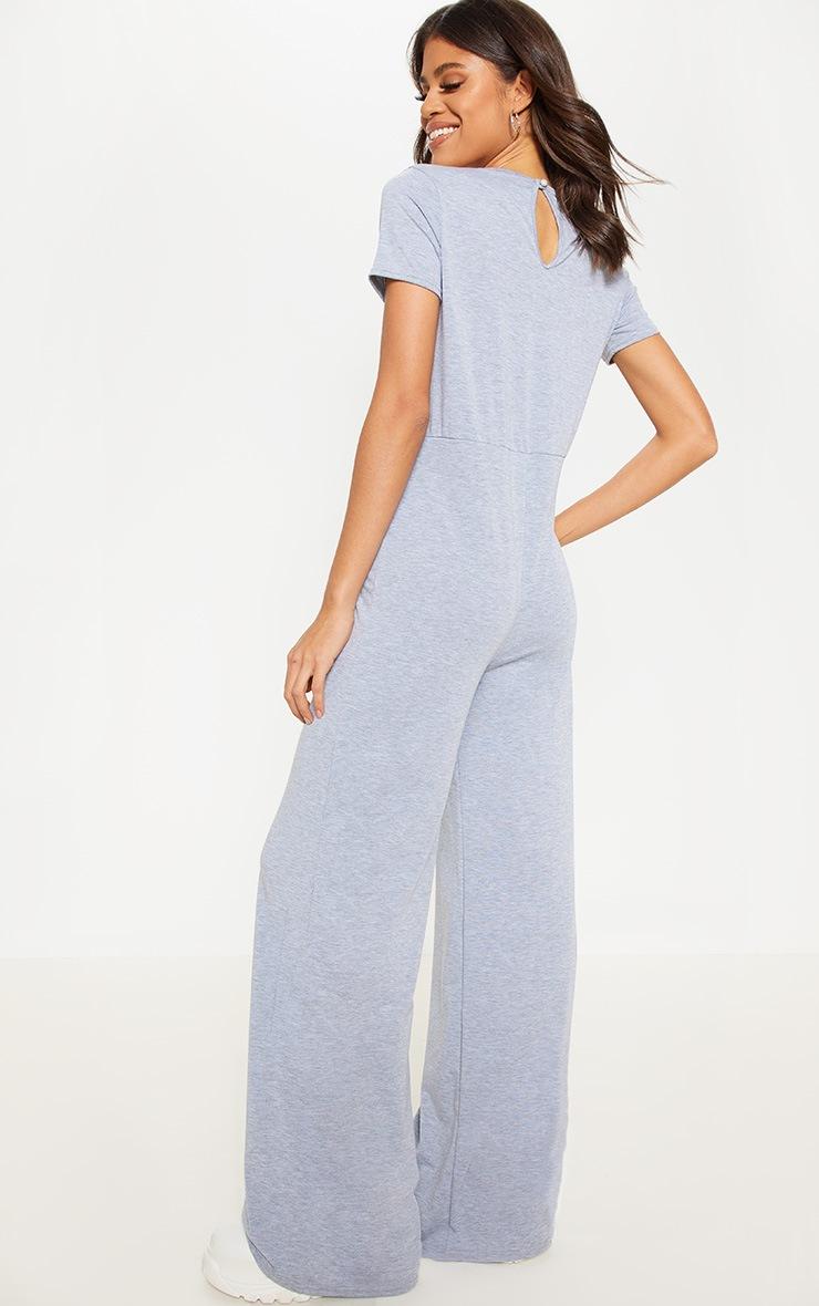 Grey Jersey Wide Leg Jumpsuit 2