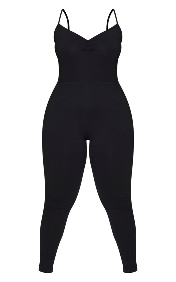 Plus Black Cotton Ruched Bust Jumpsuit 3
