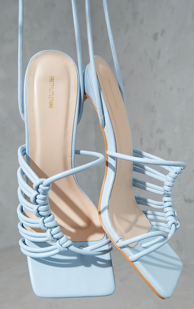 Pale Blue PU Toe Loop Knot Side Detail Lace Up Flat Heeled Sandals 3