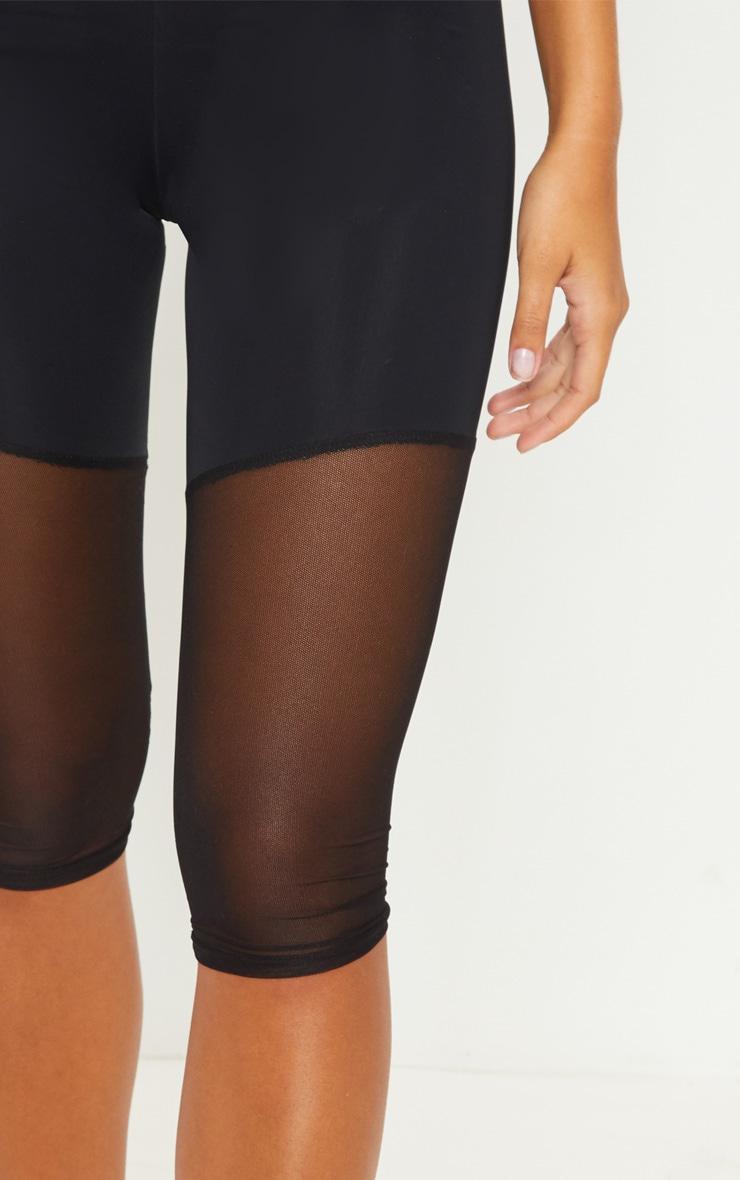 Black Basic Mesh Insert Gym Legging 5