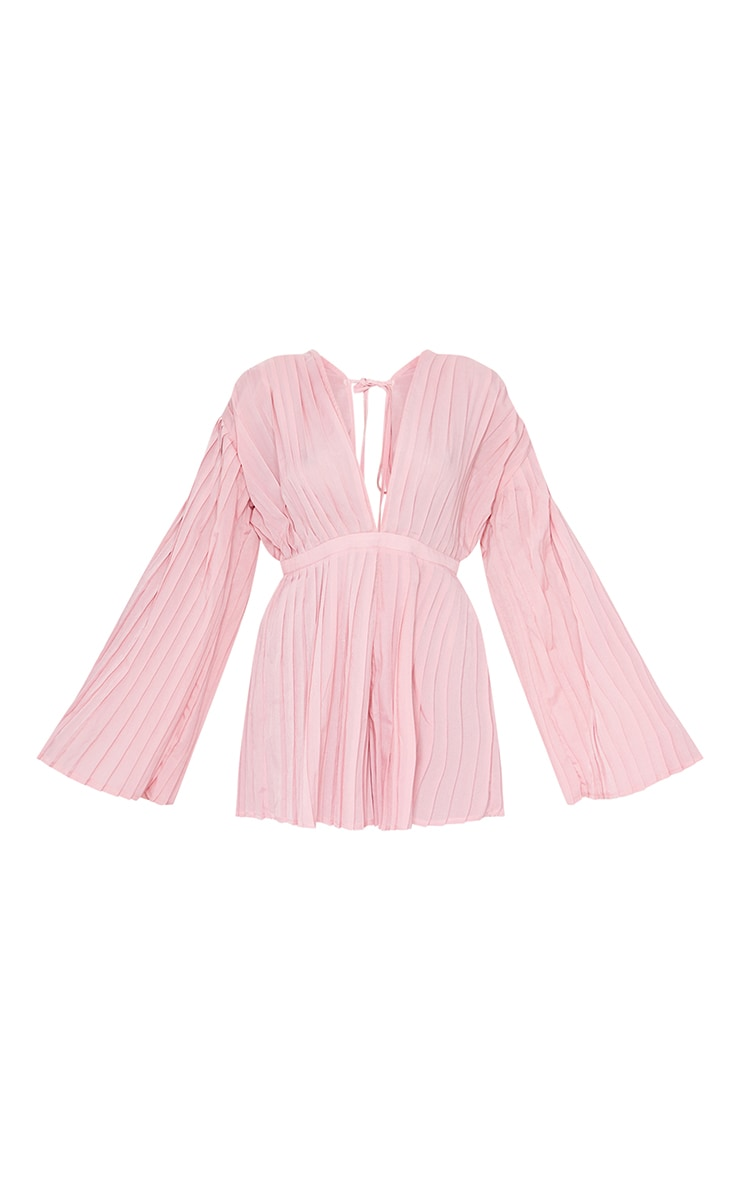 Dusty Pink Satin Plunge Pleated Playsuit 5