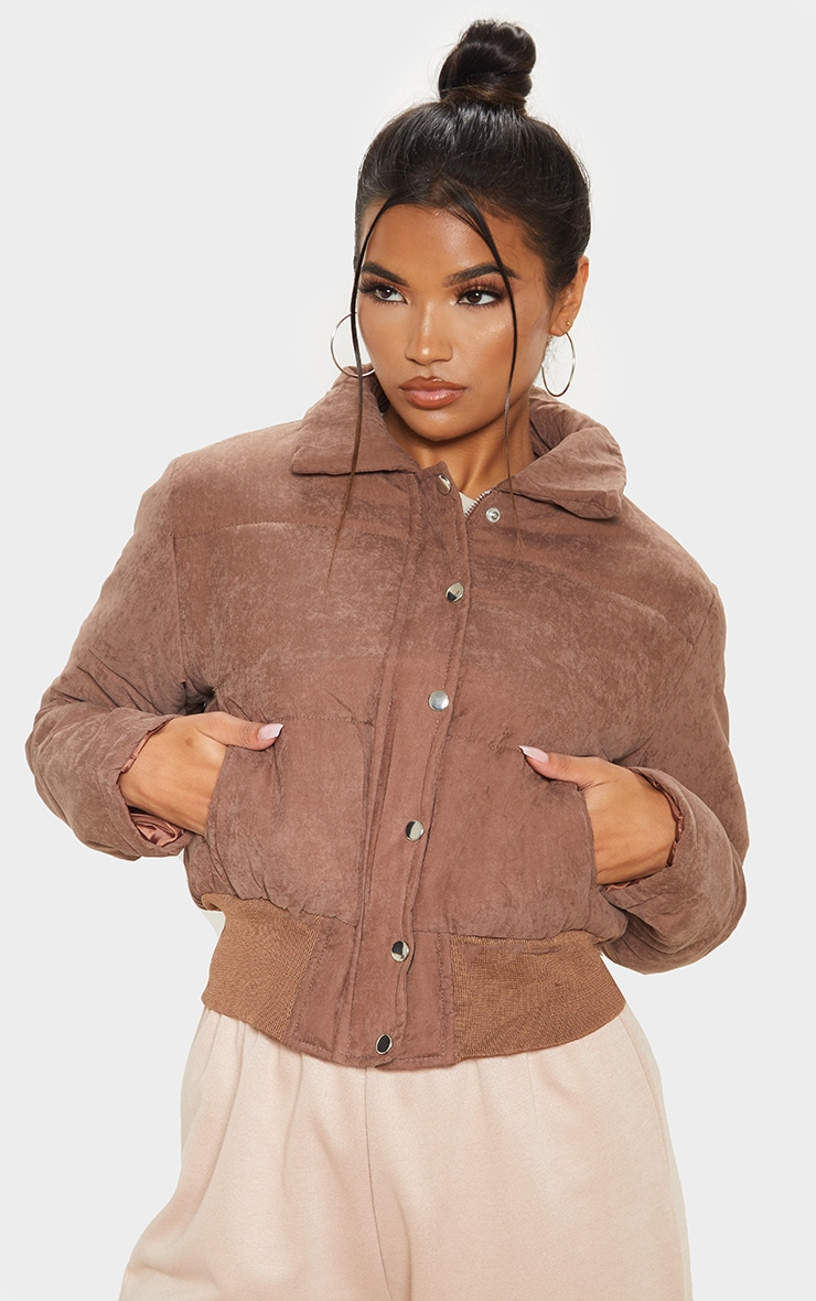 Chocolate Peach Skin Puffer Jacket 1