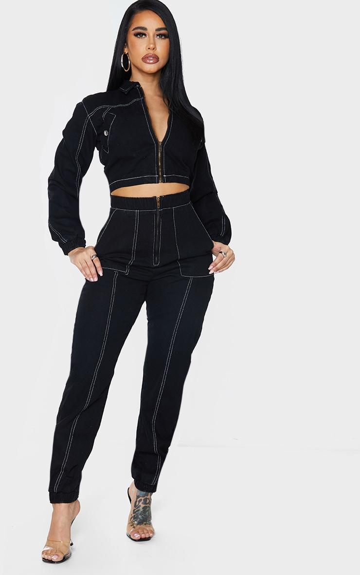 Shape Black Contrast Stitch Denim Cuff Hem Jeans