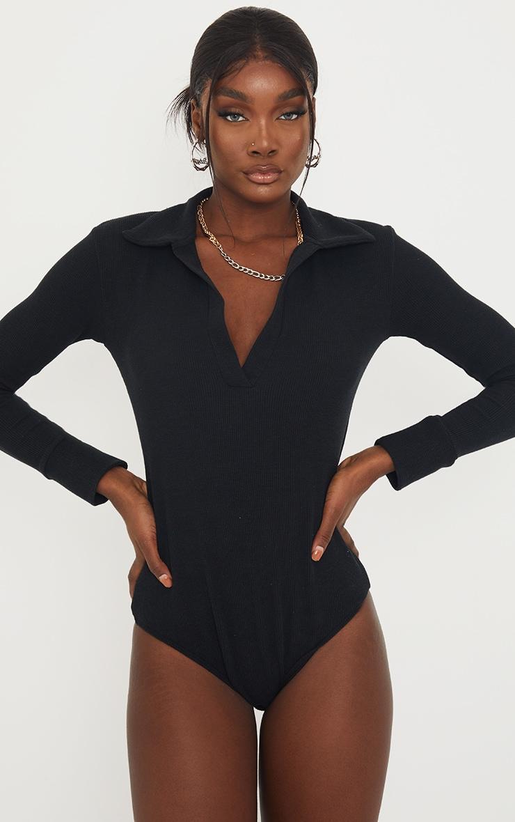 Tall Black Waffle Rib Long Sleeve Polo Bodysuit 2