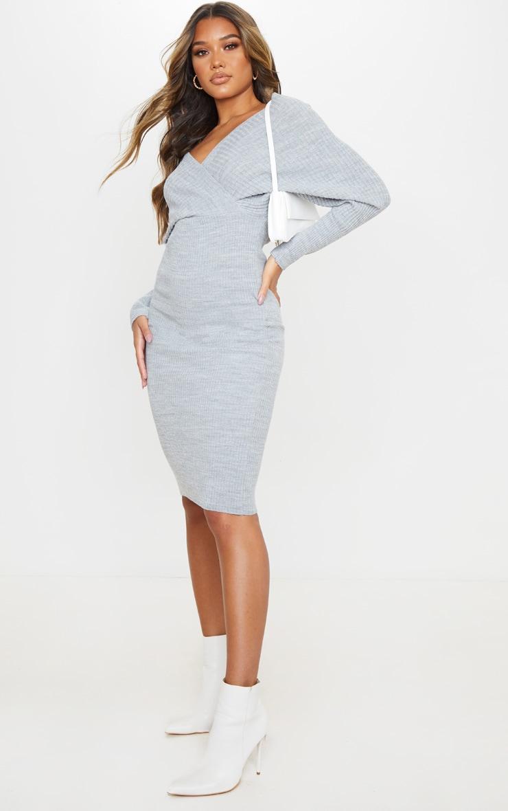 Grey Wrap Off The Shoulder Midi Dress 3