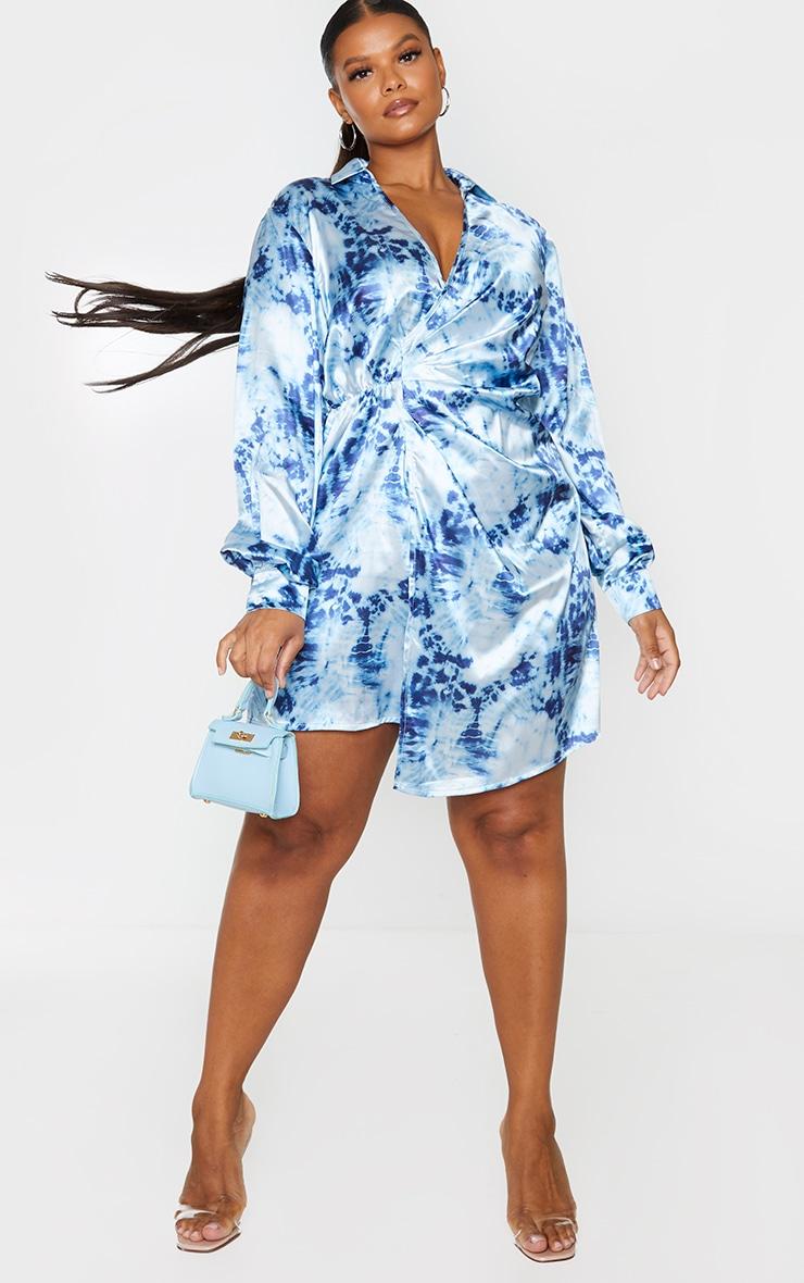Plus Blue Tie Dye Satin Twist Front Dress 1