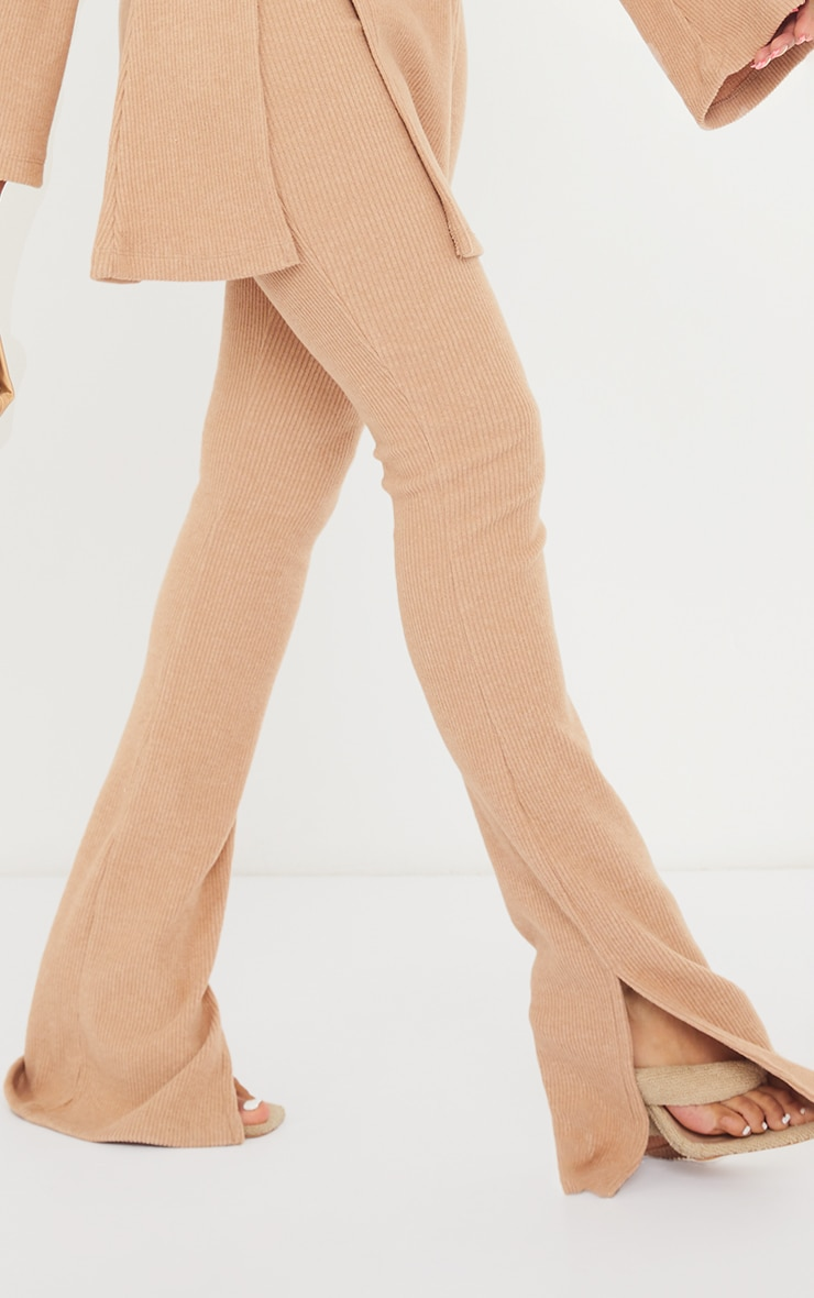 Camel Soft Rib Split Front Hem Skinny Flared Trousers 4