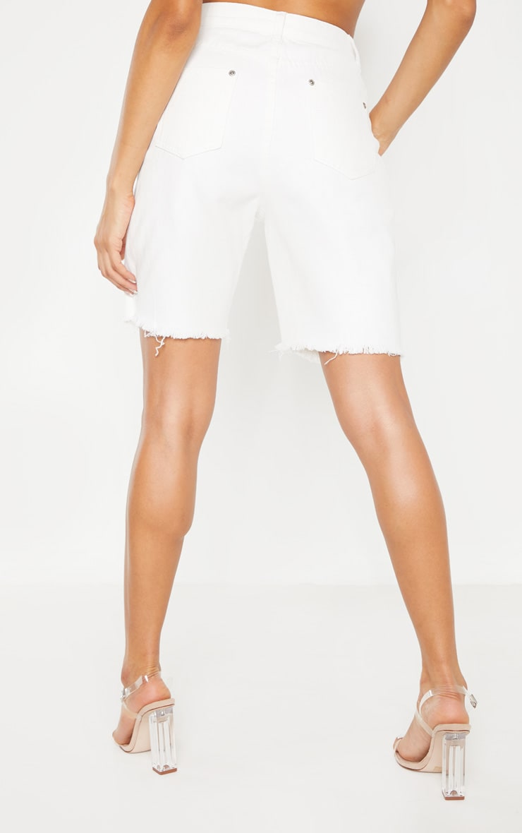 White Denim Cycle Shorts 4