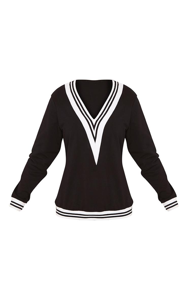 Deborah Black Stripe Trim V Neck Sweater 3