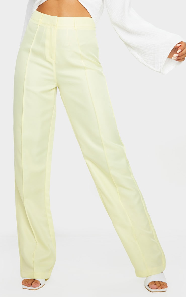 Pale Yellow Anala High Waisted Straight Leg Pants 2