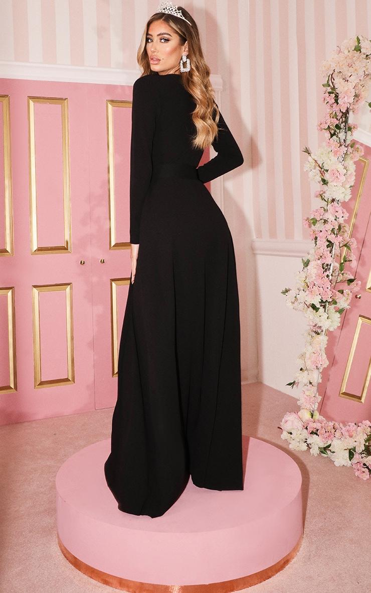 Black Long Sleeve Plunge Belted Maxi Dress 2